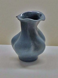 Altered Stoneware Vase with navy blue glaze