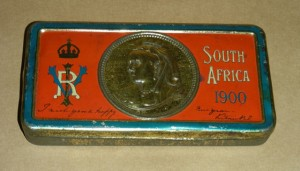 Tin box filled with chocolate sent by Queen Victoria to all the troops in the field at the turn of the century 1900
