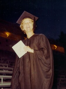 My sister, Irene, wearing the cap and gown at her graduation from San Jose State University in 1962
