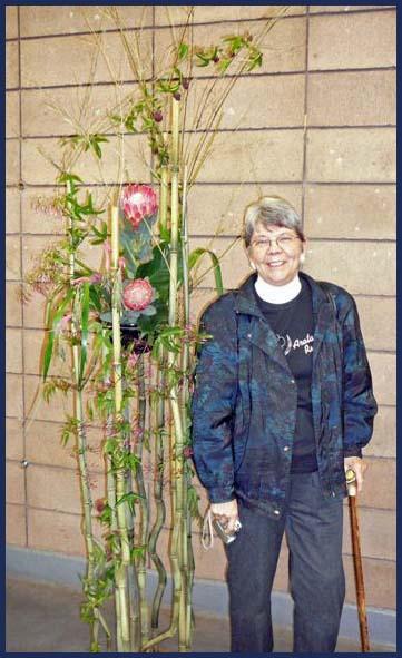 Irene with her bamboo arangement